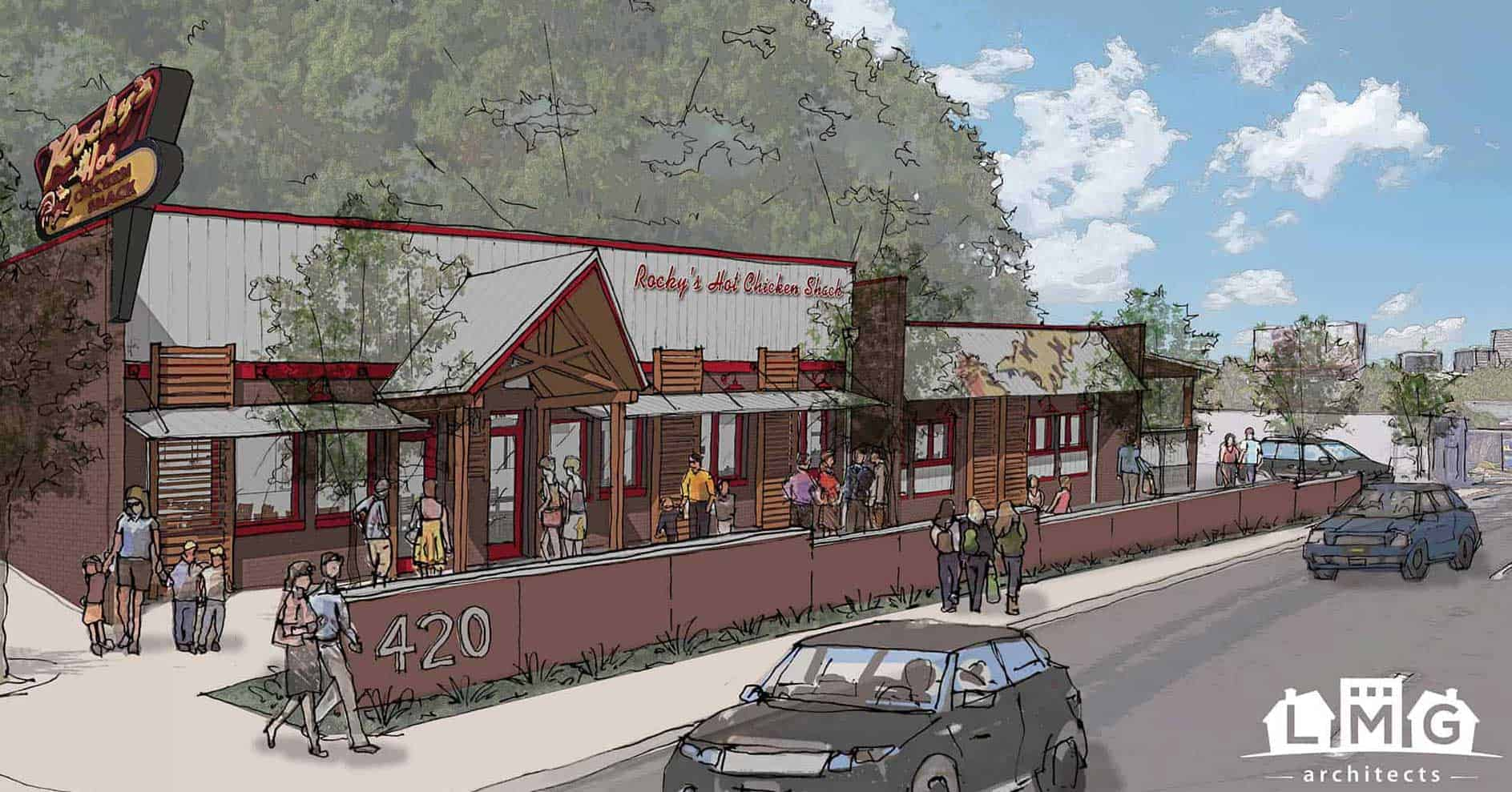 Design Rendering of Rocky's Hot Chicken in Greenville, SC